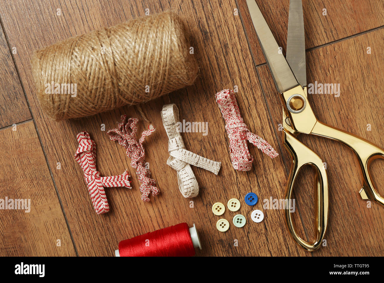 Sewing Creative Accessories On Wooden Table Top View Stock Photo Alamy