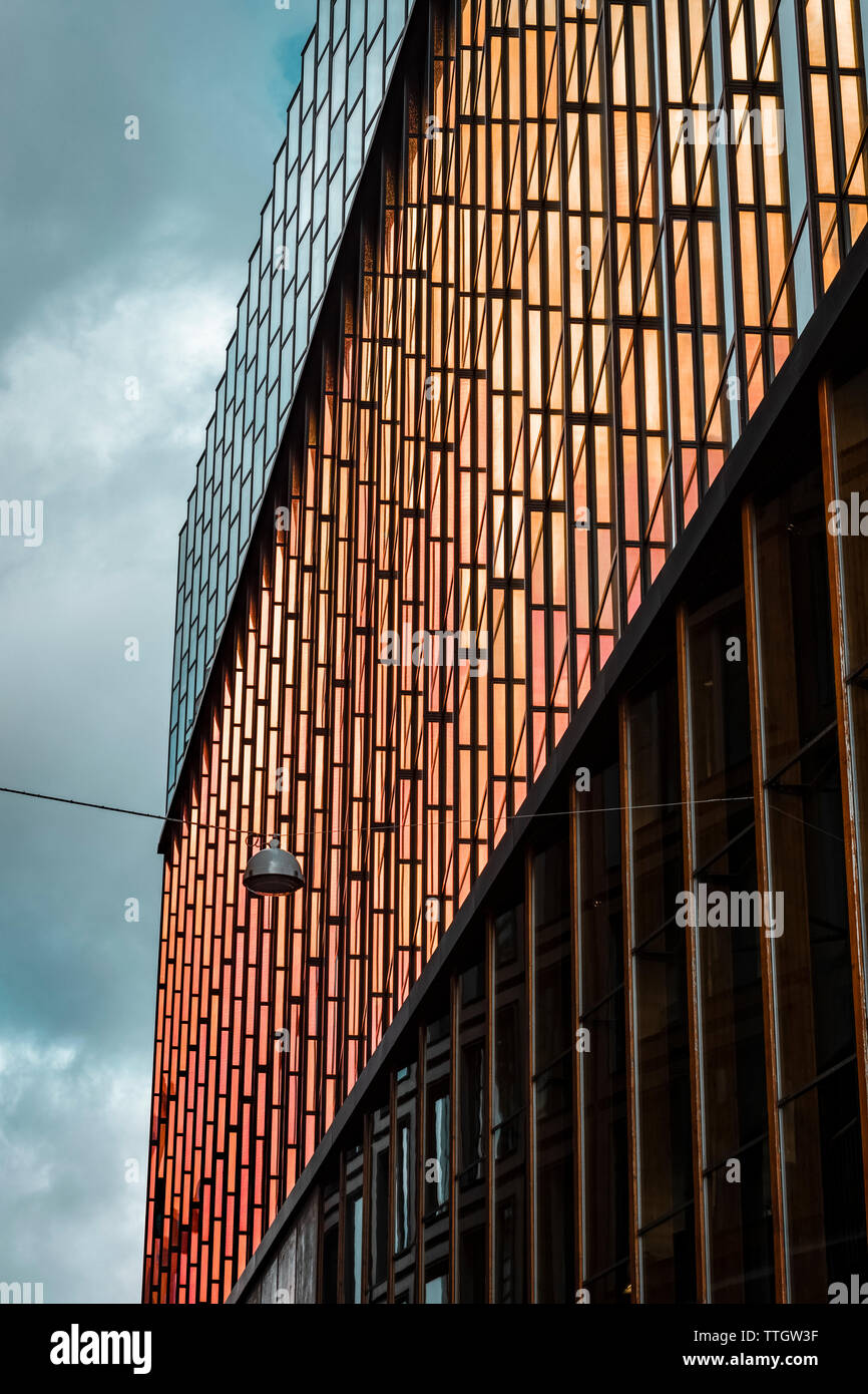 Modern dutch architecture. Side wall of Conservatorium van Amsterdam. Stock Photo