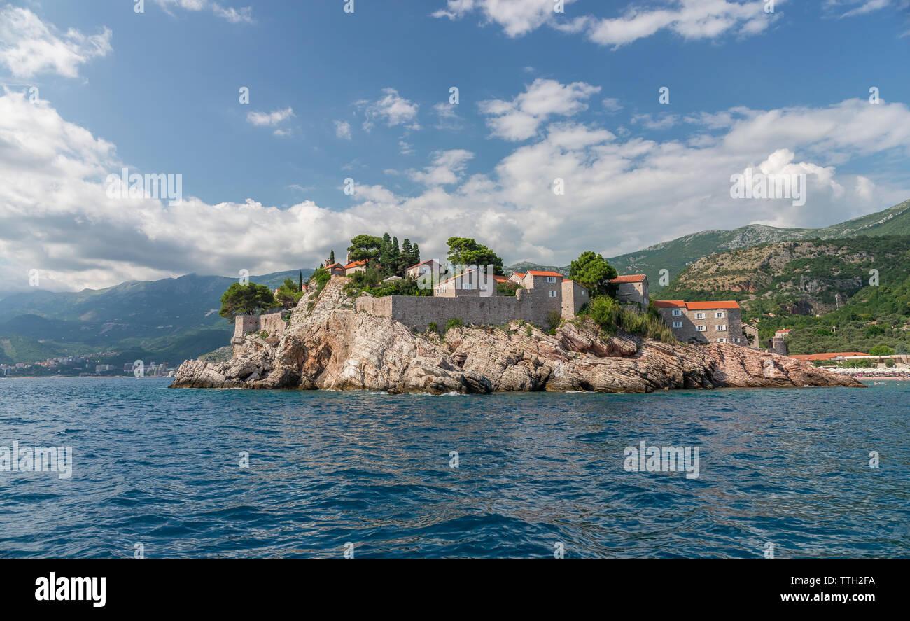 Sveti Stefan island in Montenegro, luxury hotel on the Adriatic sea - Stock Image