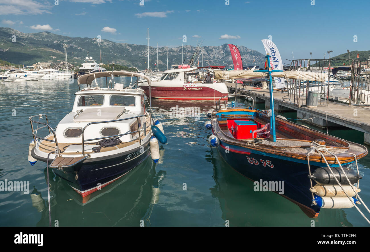 Budva, Montenegro - 07.10.2018.  Boats and Yachts in the Dukley Marina on a sunny summer day - Stock Image