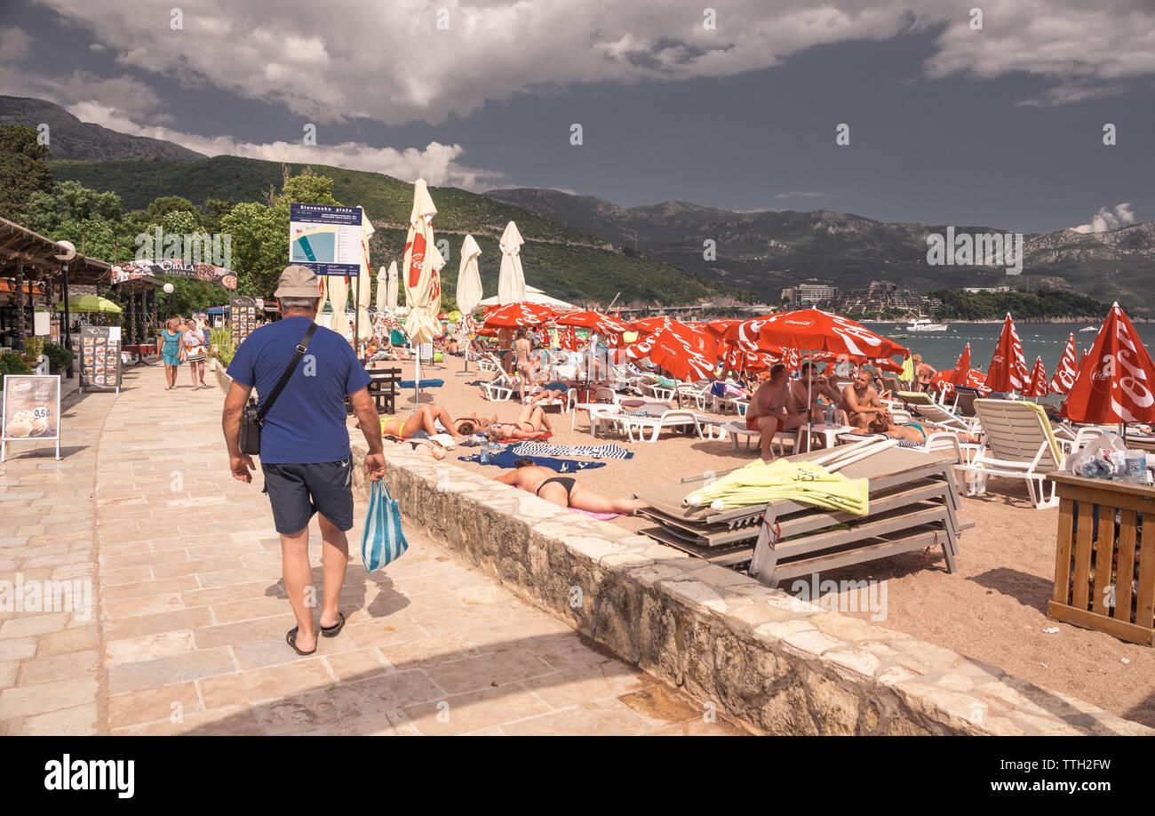 Budva, Montenegro - 07.10.2018.  Walk along the sea promenade in the resort of Budva, Montenegro - Stock Image