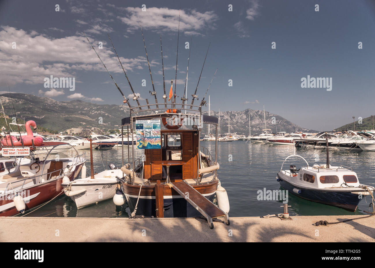 Budva, Montenegro - 07.10.2018.   Boat trip along the coast of the resort of Budva in Montenegro on a sunny summer day - Stock Image