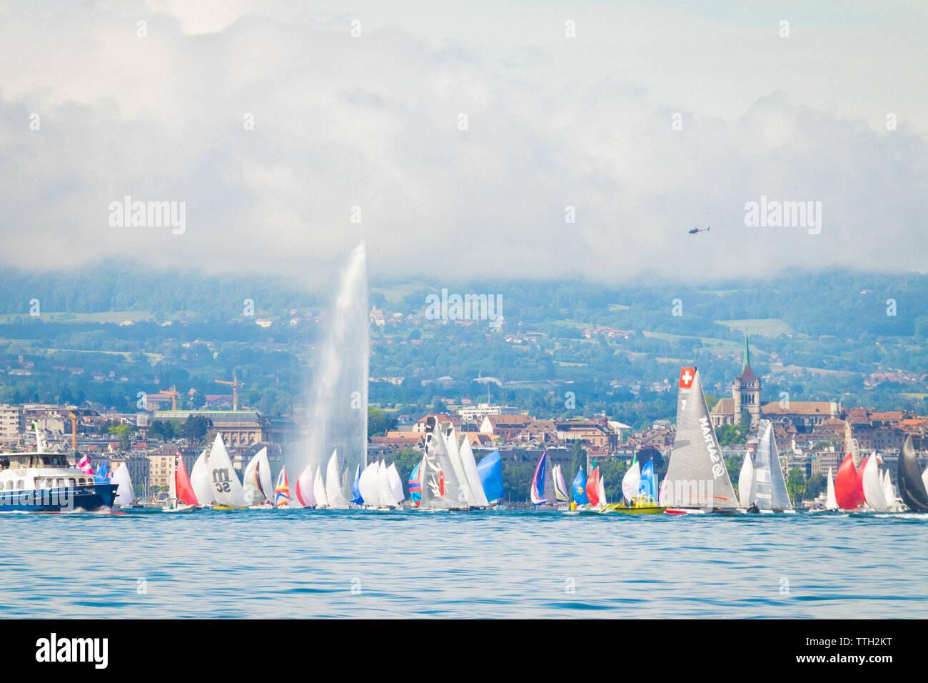 Sailing boat during Bol d'or the biggest regatta on Lake leman Geneva - Stock Image