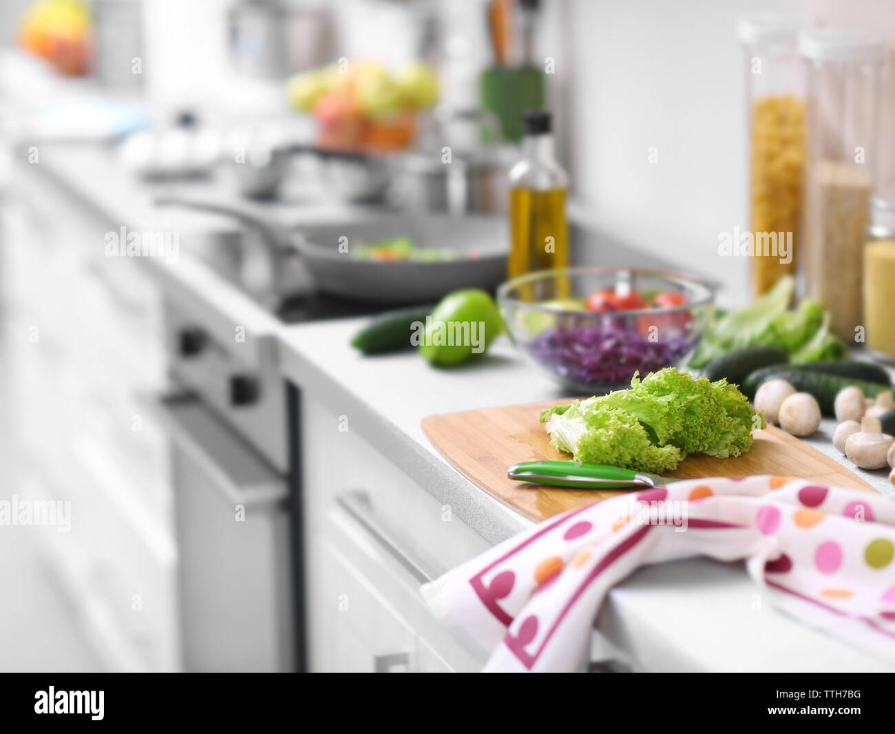 Vegetables on a kitchen table - Stock Image