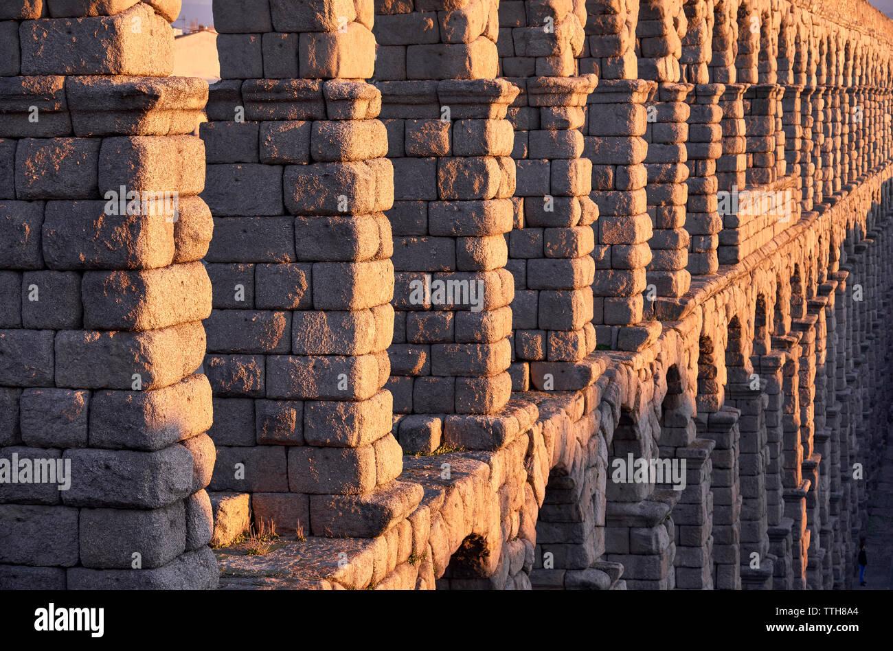 Spain, Castile and Leon, Segovia, Aqueduct of Segovia Stock Photo