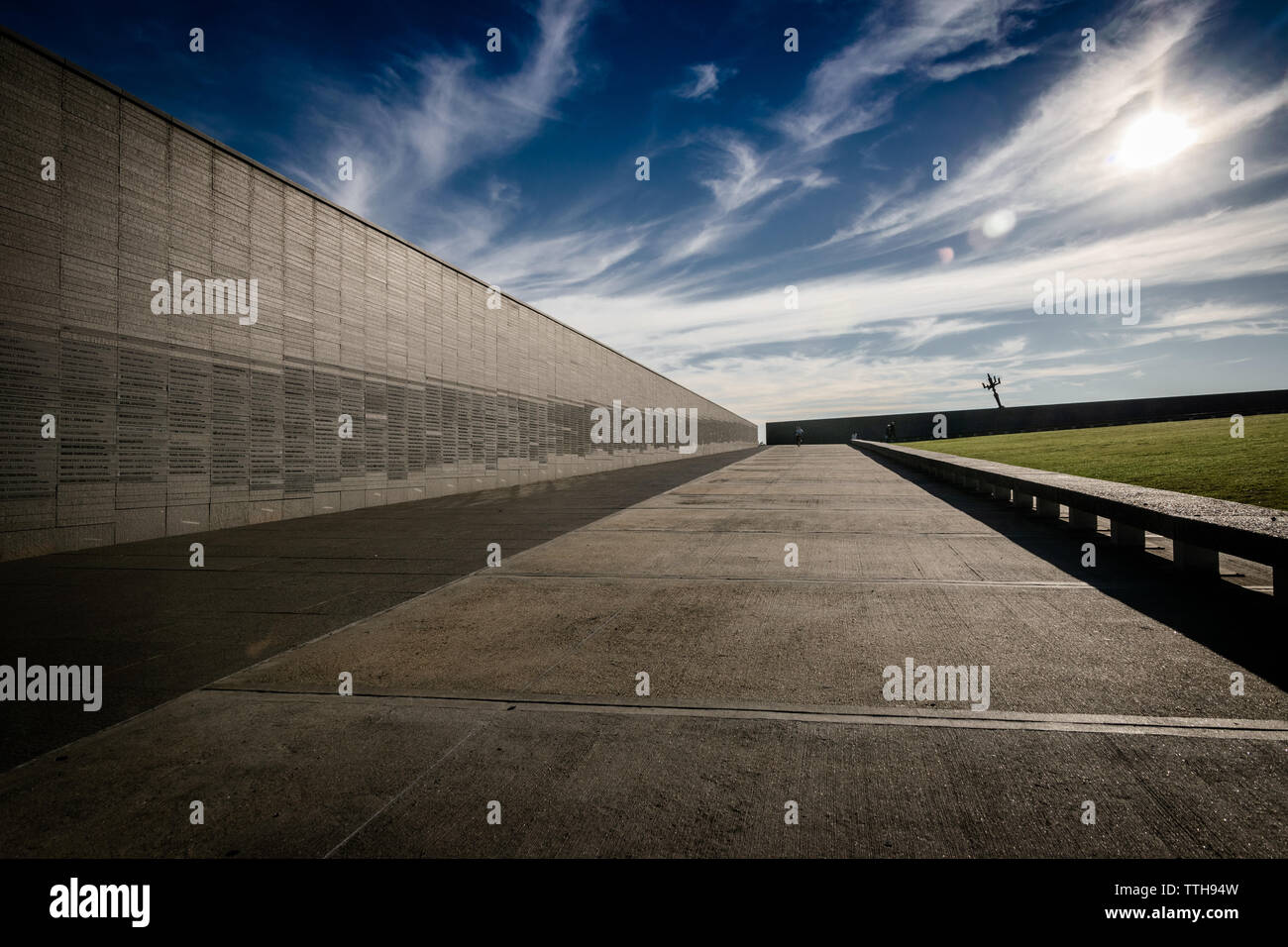 Wall that remembers the names of the victims of state violence, in the Memory Park in Buenos Aires, Argentina Stock Photo