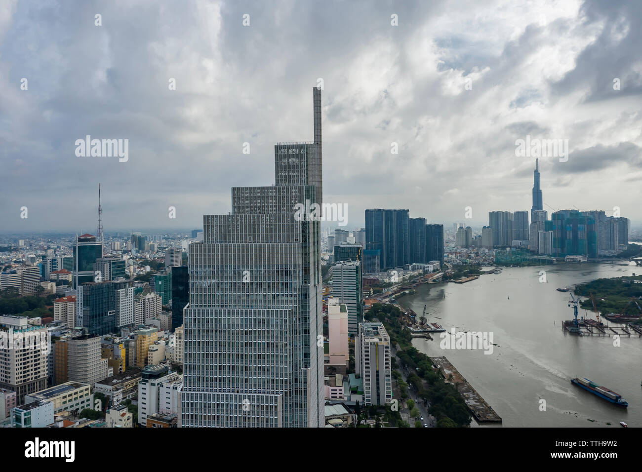 Aerial  Photos of Ho Chi Minh City Skyline (Saigon) Vietnam Morning Light - Stock Image
