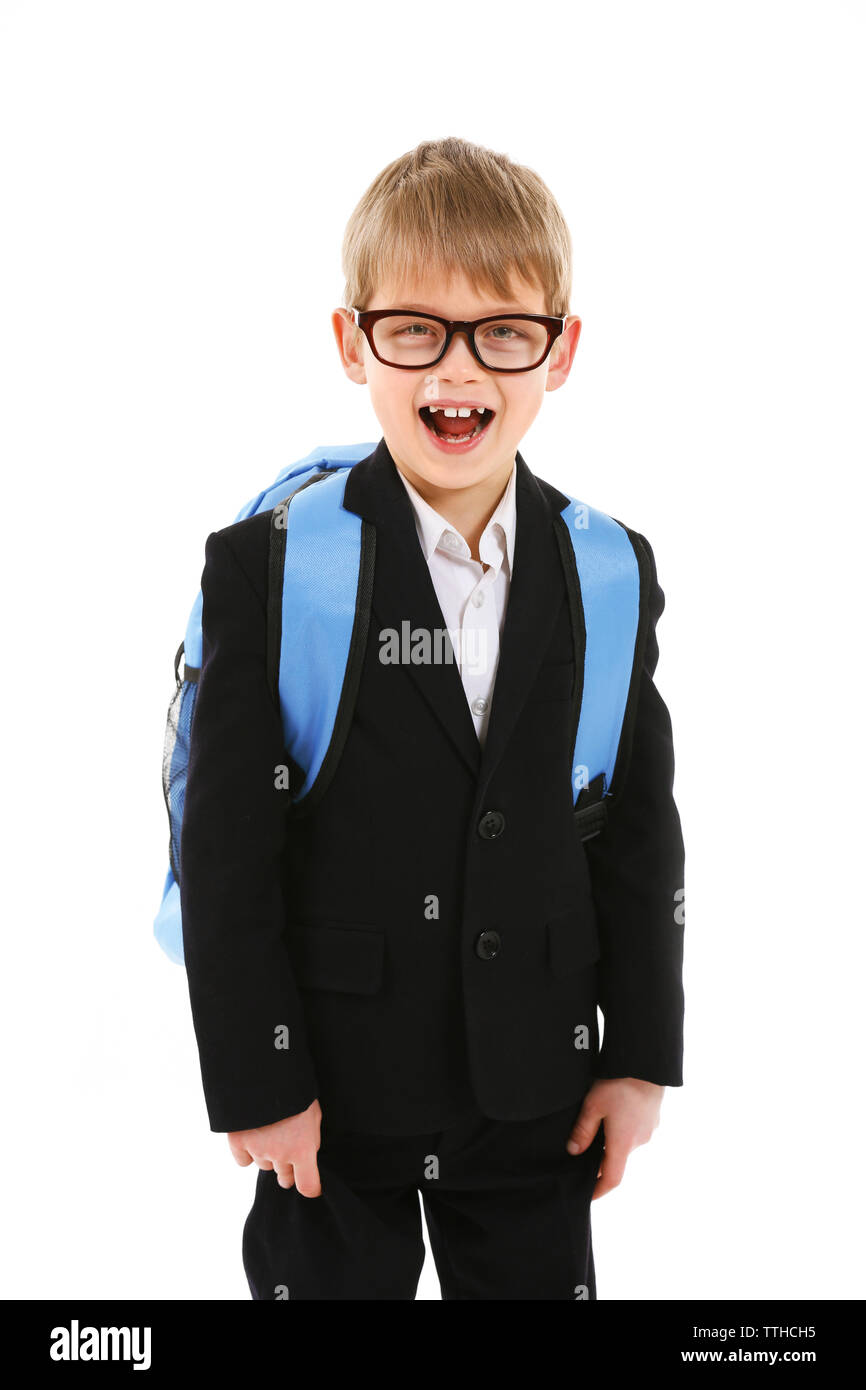 Schoolboy with backpack isolated on white - Stock Image
