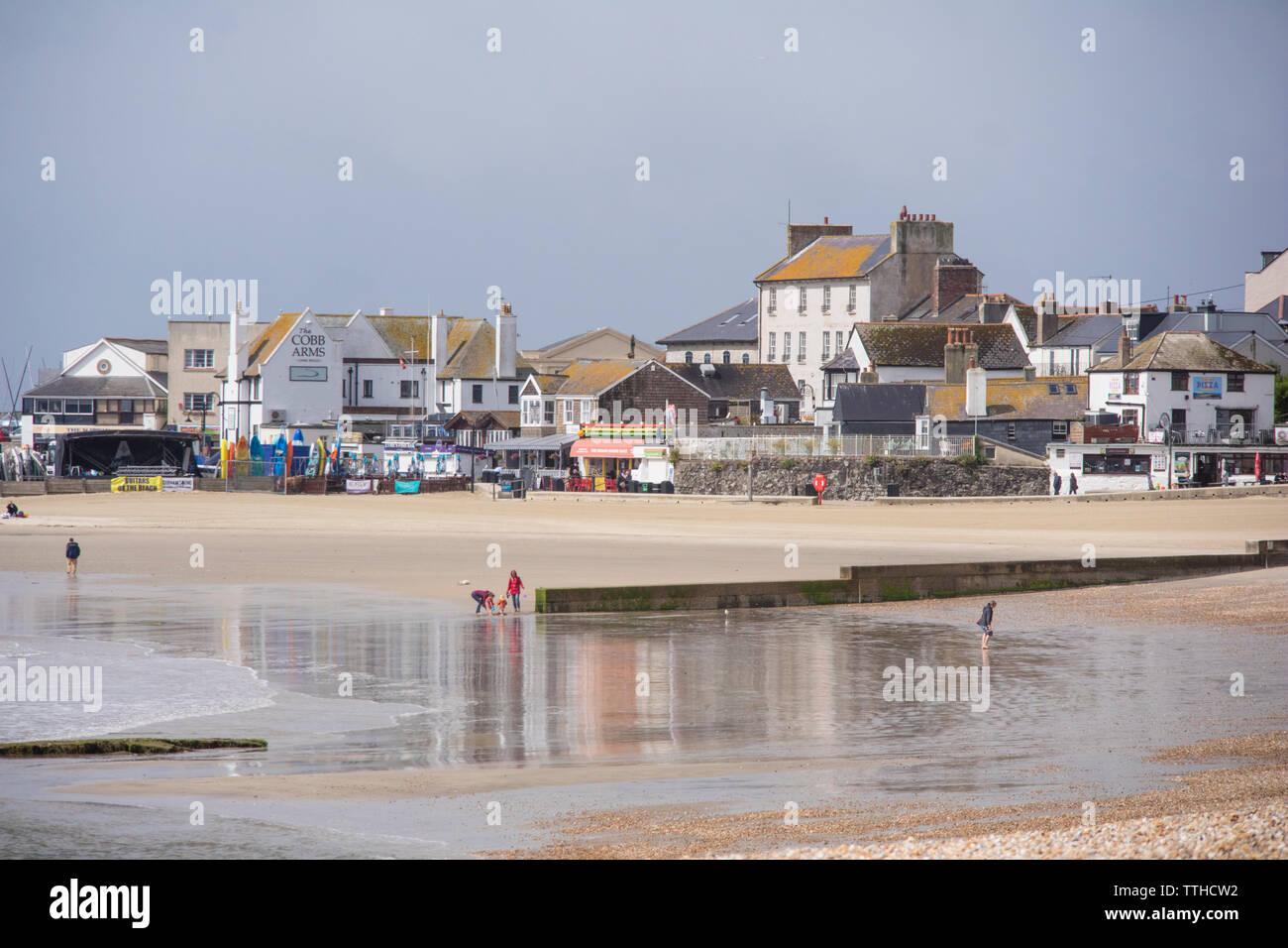 Sandy beaches at Lyme Regis, Dorset, England, UK - Stock Image
