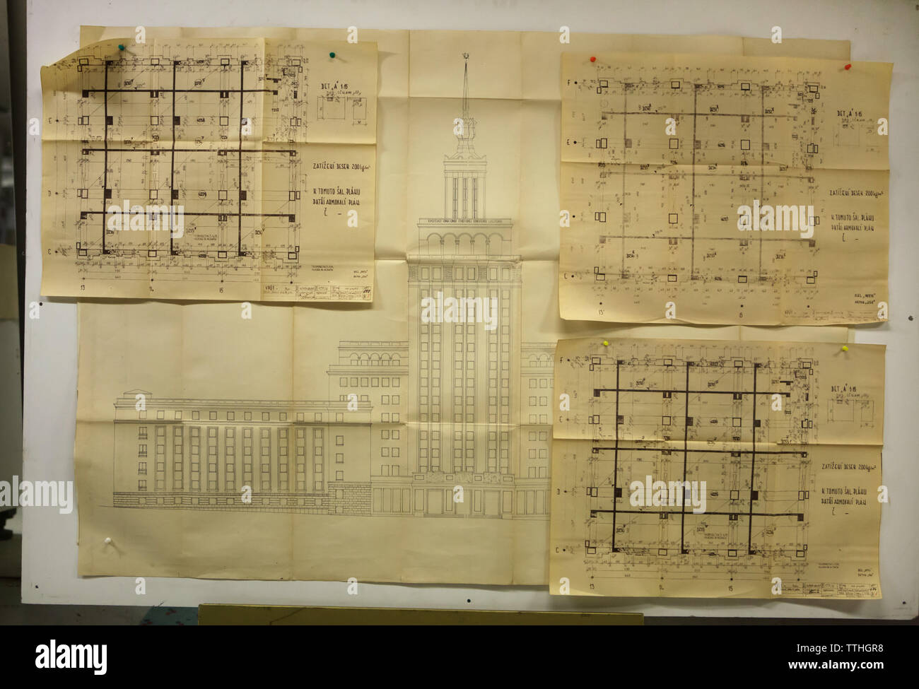 Original drafts of the Hotel International on display in basement of the Hotel International in Dejvice district in Prague, Czech Republic. The hotel inspired by Soviet Stalinist architecture was designed by Czech architect František Jeřábek and built in 1952-1956. Stock Photo