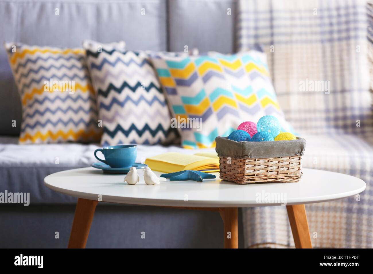 Design interior with sofa and table, indoors - Stock Image