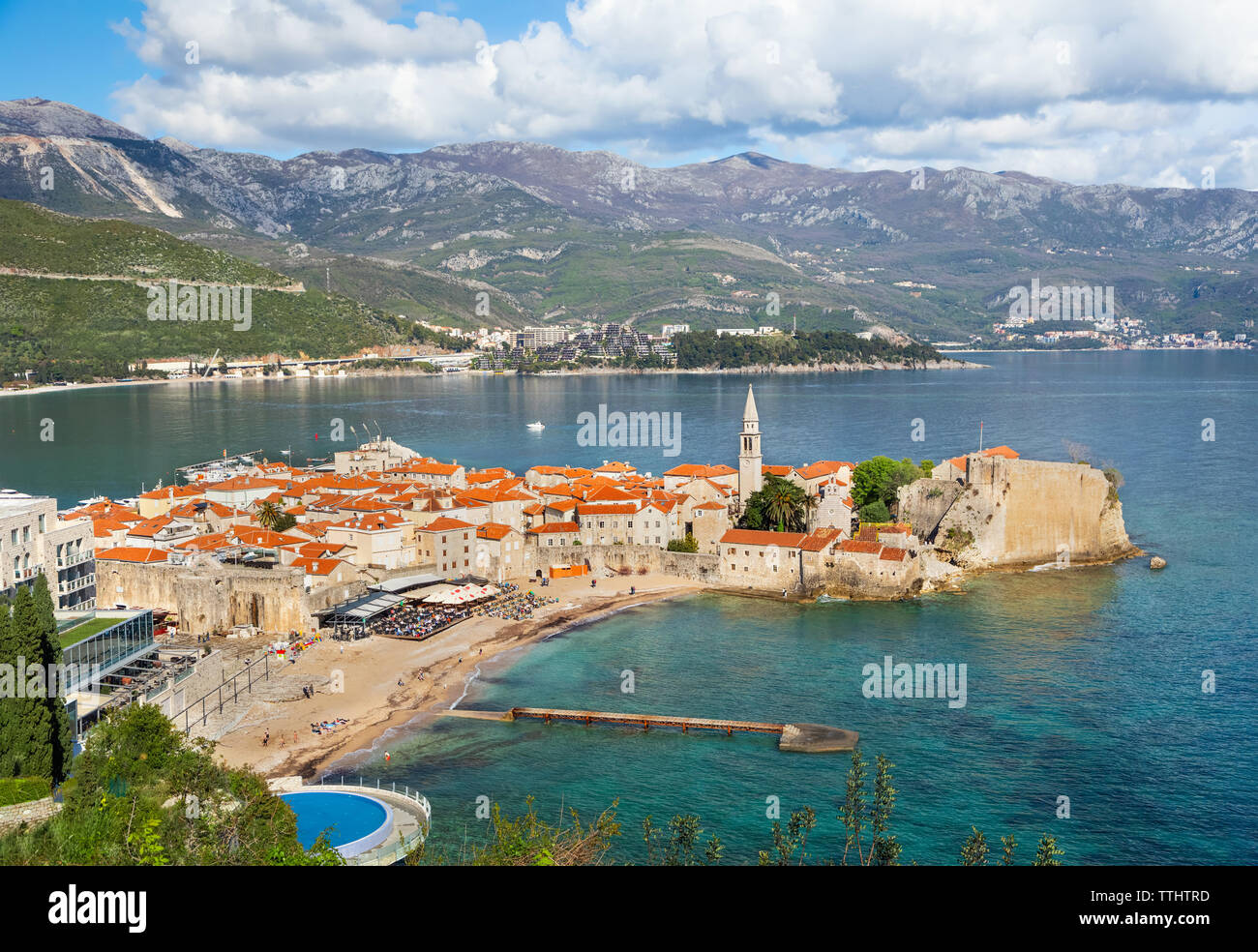Aerial view of Budva Old Town and beach, Montenegro - Stock Image