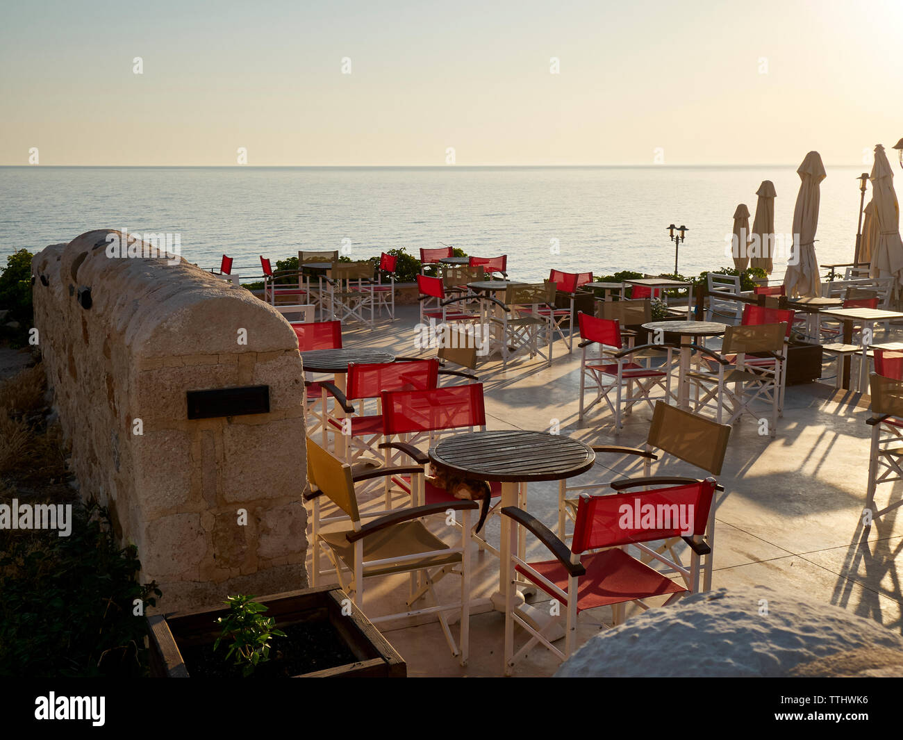 Tavern/Restaurant, Rethymno (Rethymnon), Crete, Greek Islands, Greece, Europe Stock Photo