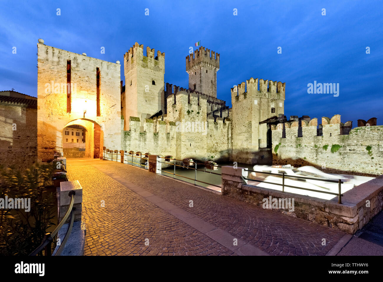 The gateway to the Scaligero castle in Sirmione. Lake Garda, Brescia province, Lombardy, Italy, Europe. Stock Photo