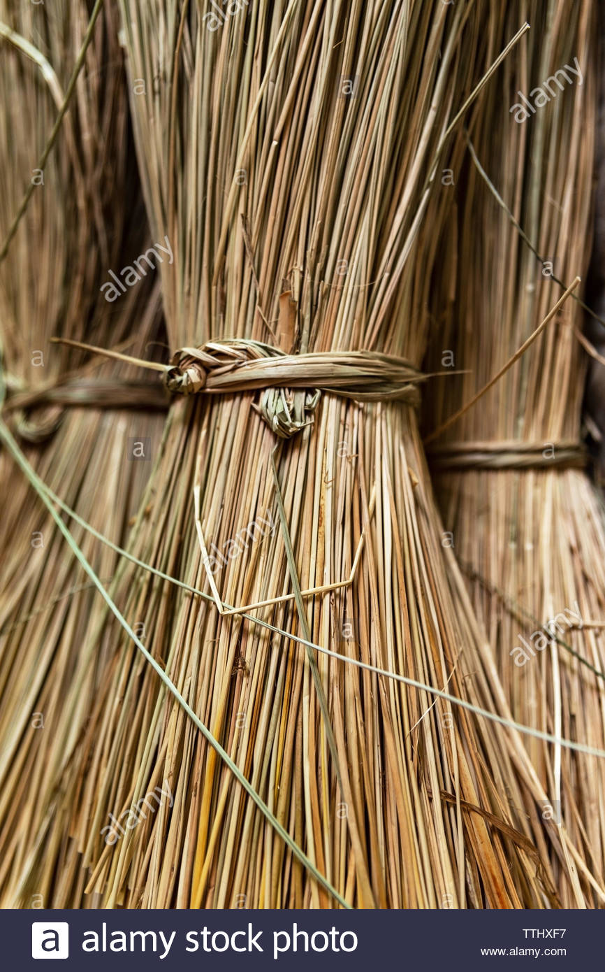 Close-up on sacks of non-dyed straws for sedge mat weaving in the small village of Ben Tre in the Mekong delta region, Vietnam.Vertical view. - Stock Image