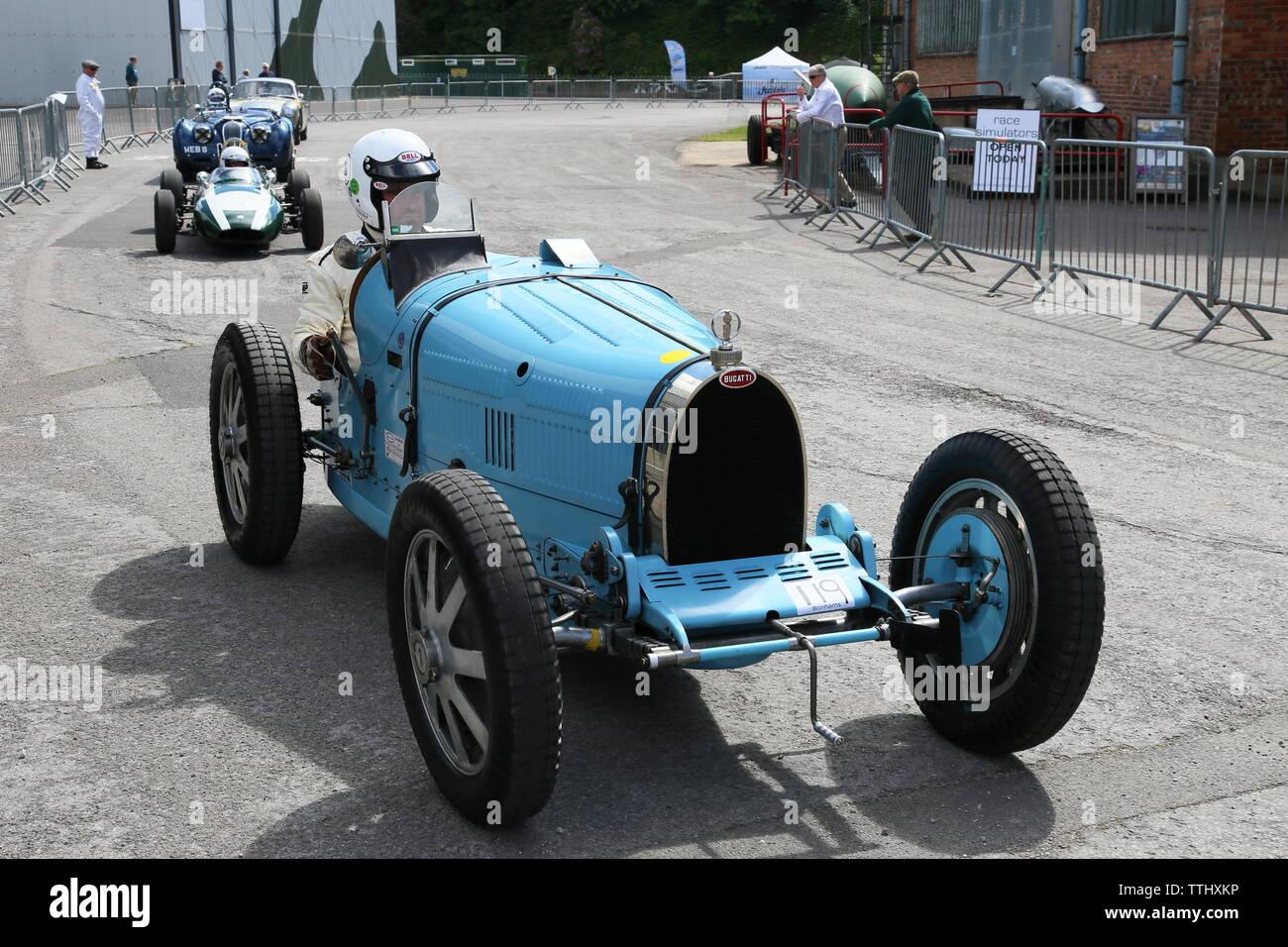 Bugatti Type 35C (1927), Double Twelve Motorsport Festival 2019, Brooklands Museum, Weybridge, Surrey, England, Great Britain, UK, Europe - Stock Image