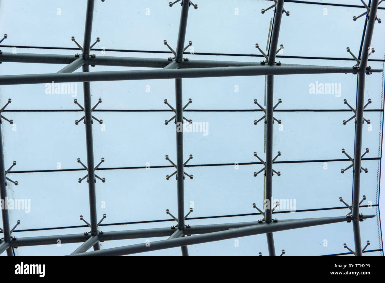 roof segments of Olympiastadion Berlin against sky - Stock Image