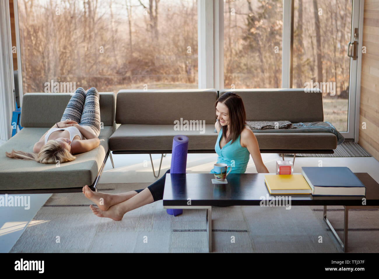 Happy homosexual women spending leisure time in living room - Stock Image
