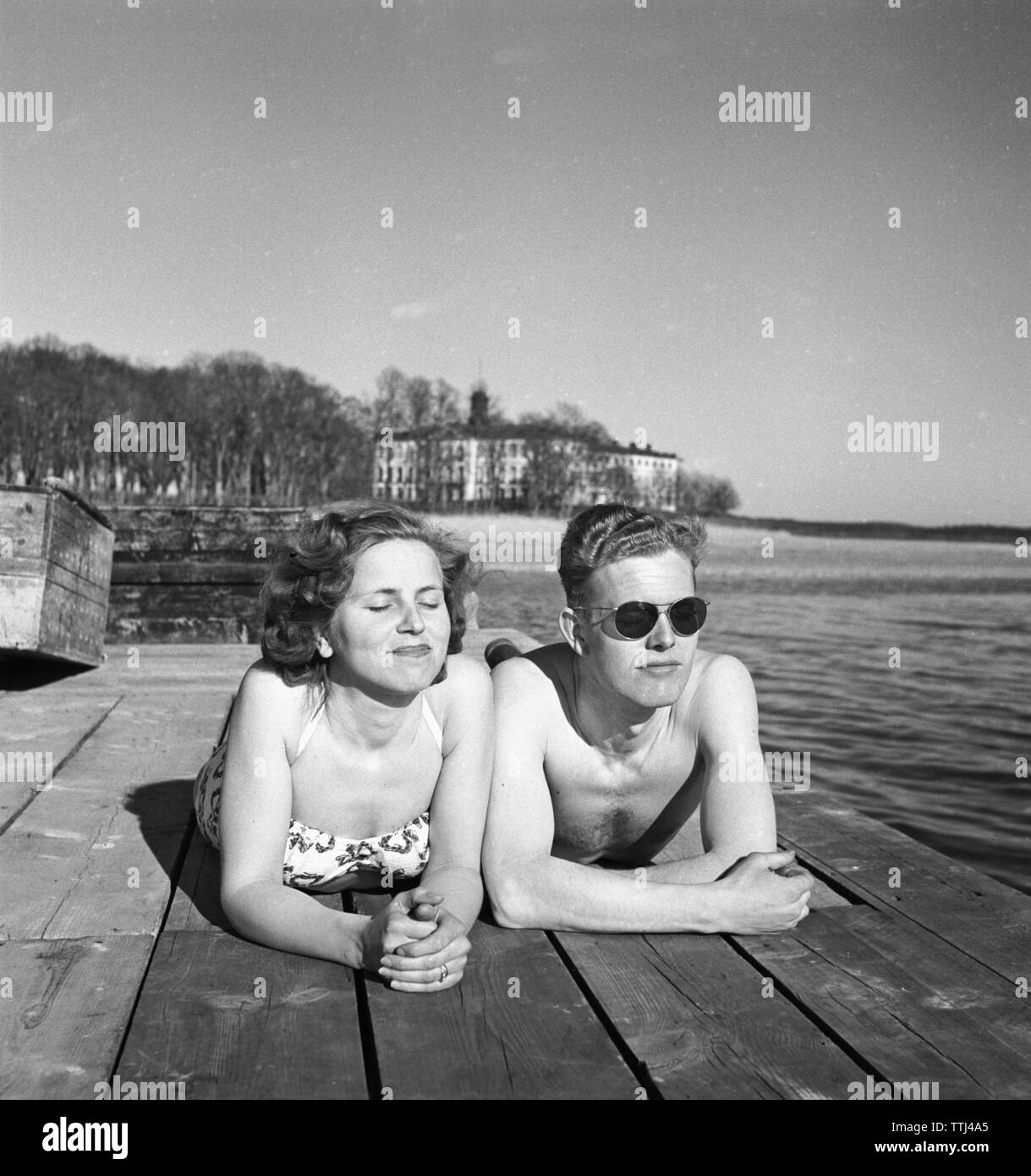Couple Enjoying Their Summer Holidays Stock Photo: Girls Beach Sweden Stock Photos & Girls Beach Sweden Stock