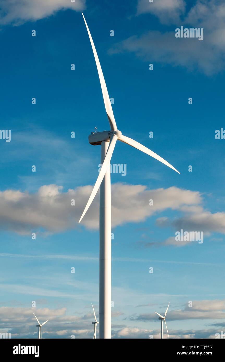 Wind turbines against sky on sunny day Stock Photo