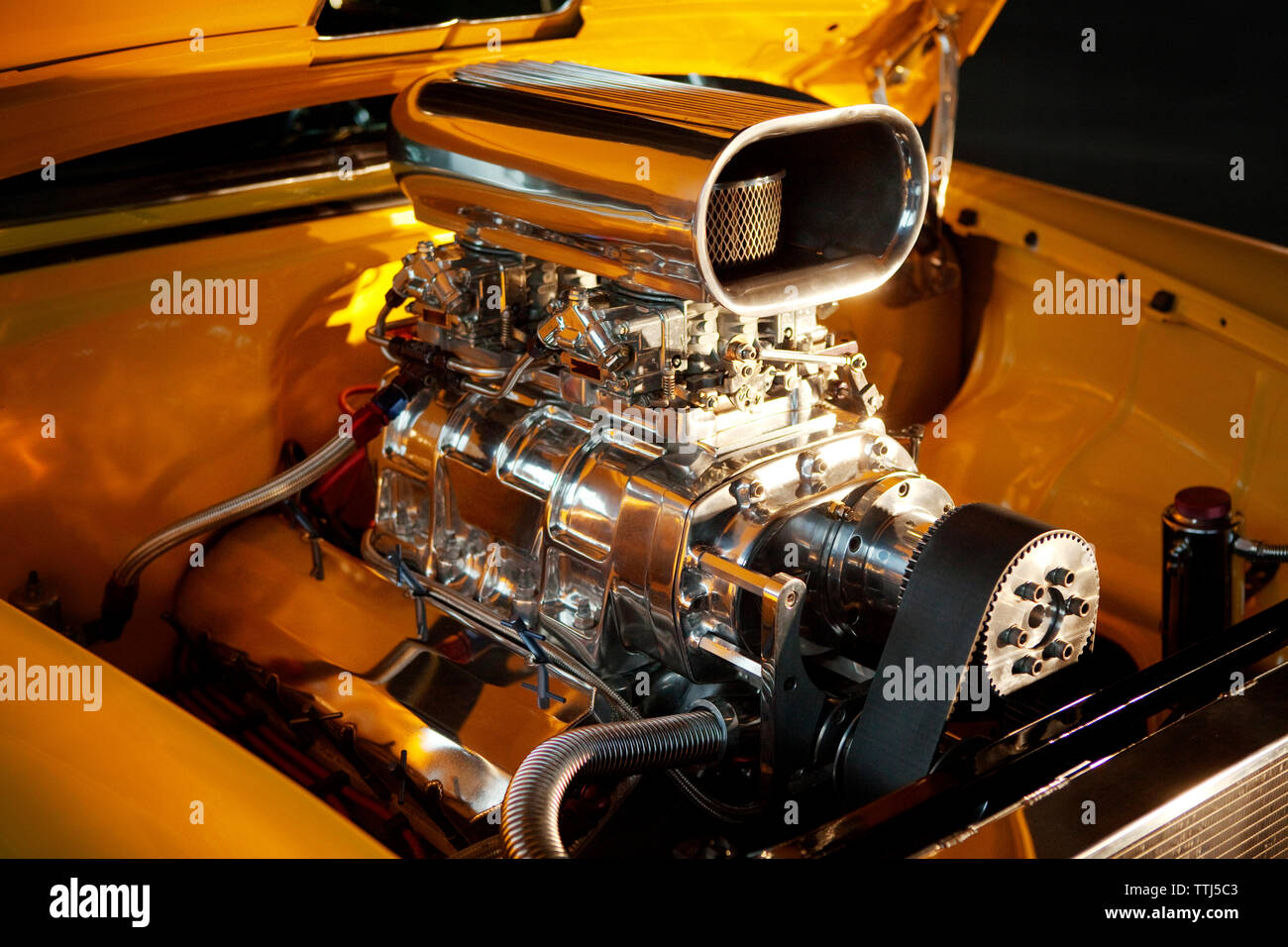 High angle view of 1955 chevrolet chrome engine - Stock Image