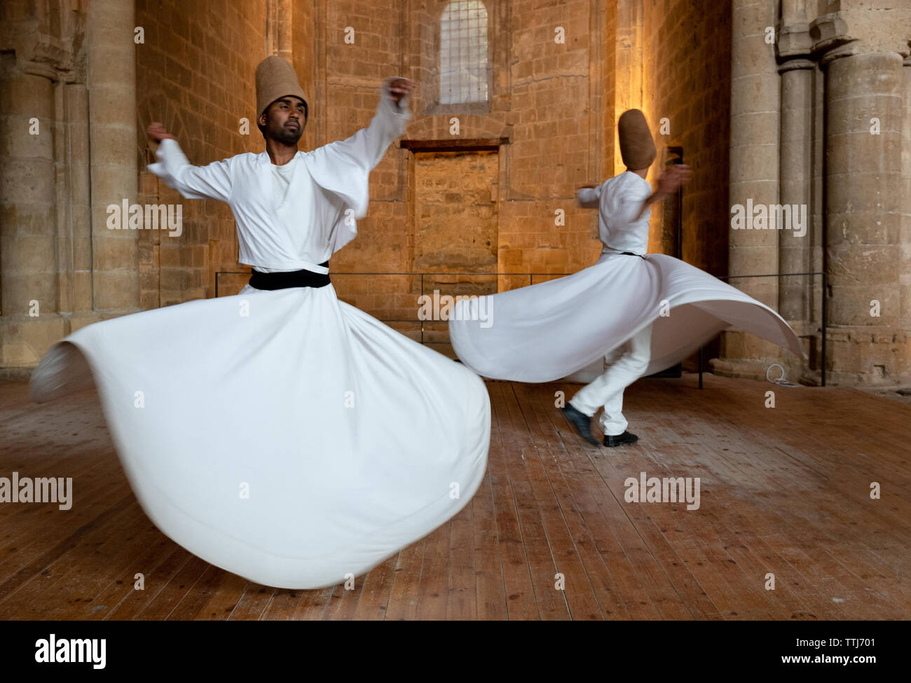 Nicosia, Cyprus, June 5 2019: Group of Dervishes performing the traditional and religious whirling dance or Sufi whirling Stock Photo