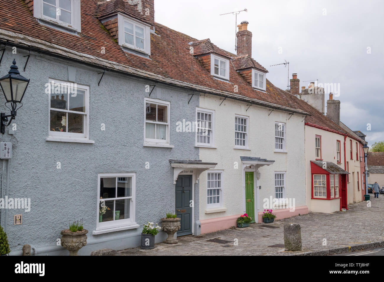Historic cottages in Wareham, Dorset, England, UK - Stock Image
