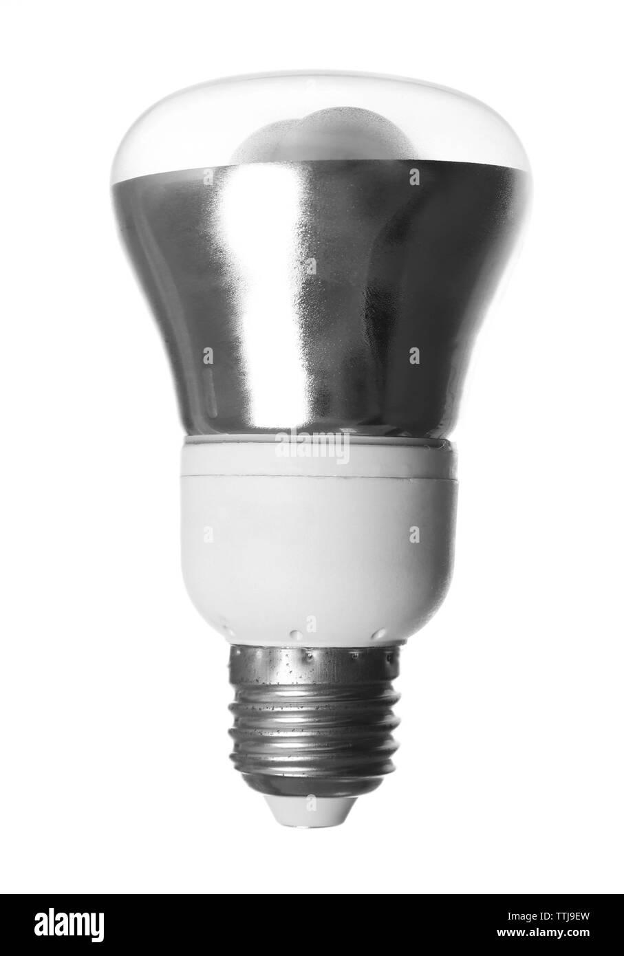 Light bulb on white background - Stock Image