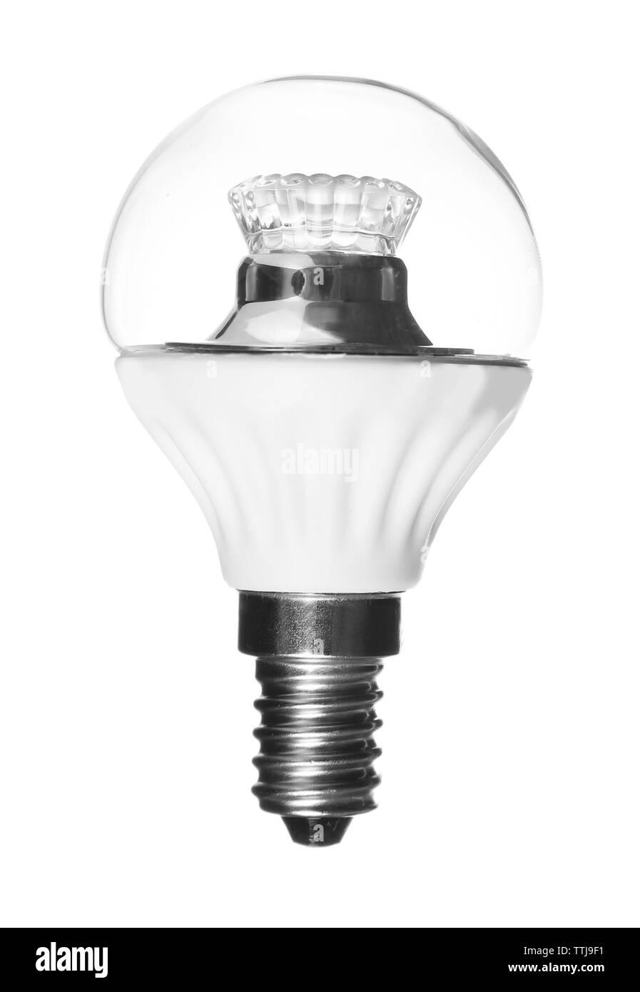 Led light bulb on white background - Stock Image