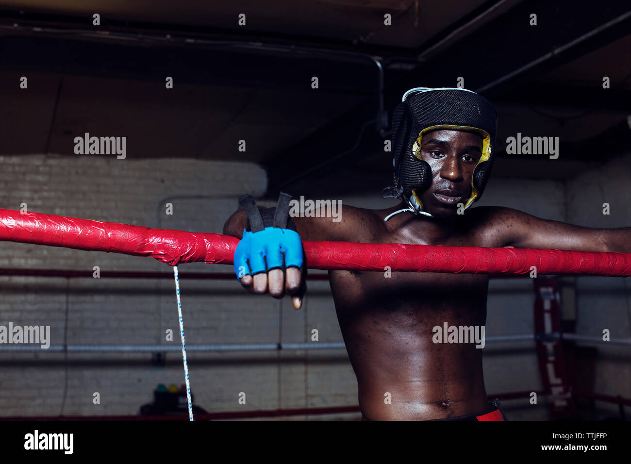Boxer looking away while standing in boxing ring - Stock Image