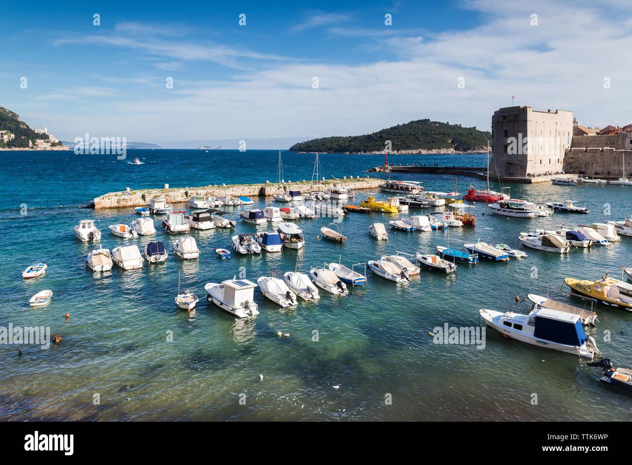 03 May 2019, Dubrovnik, Croatia. Old city port. - Stock Image