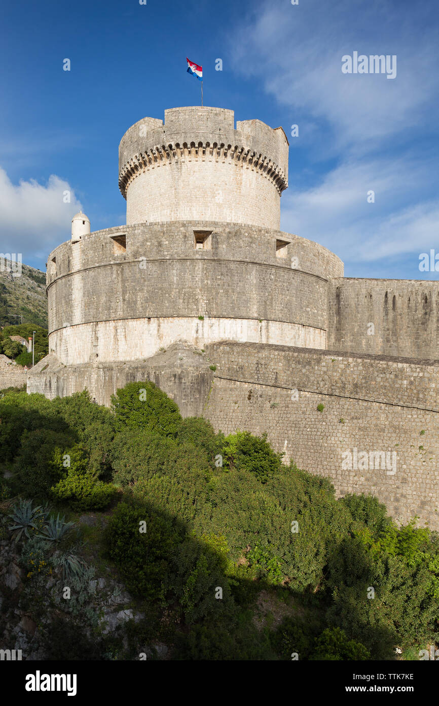 03 May 2019, Dubrovnik, Croatia. Old city architecture. Tower. - Stock Image