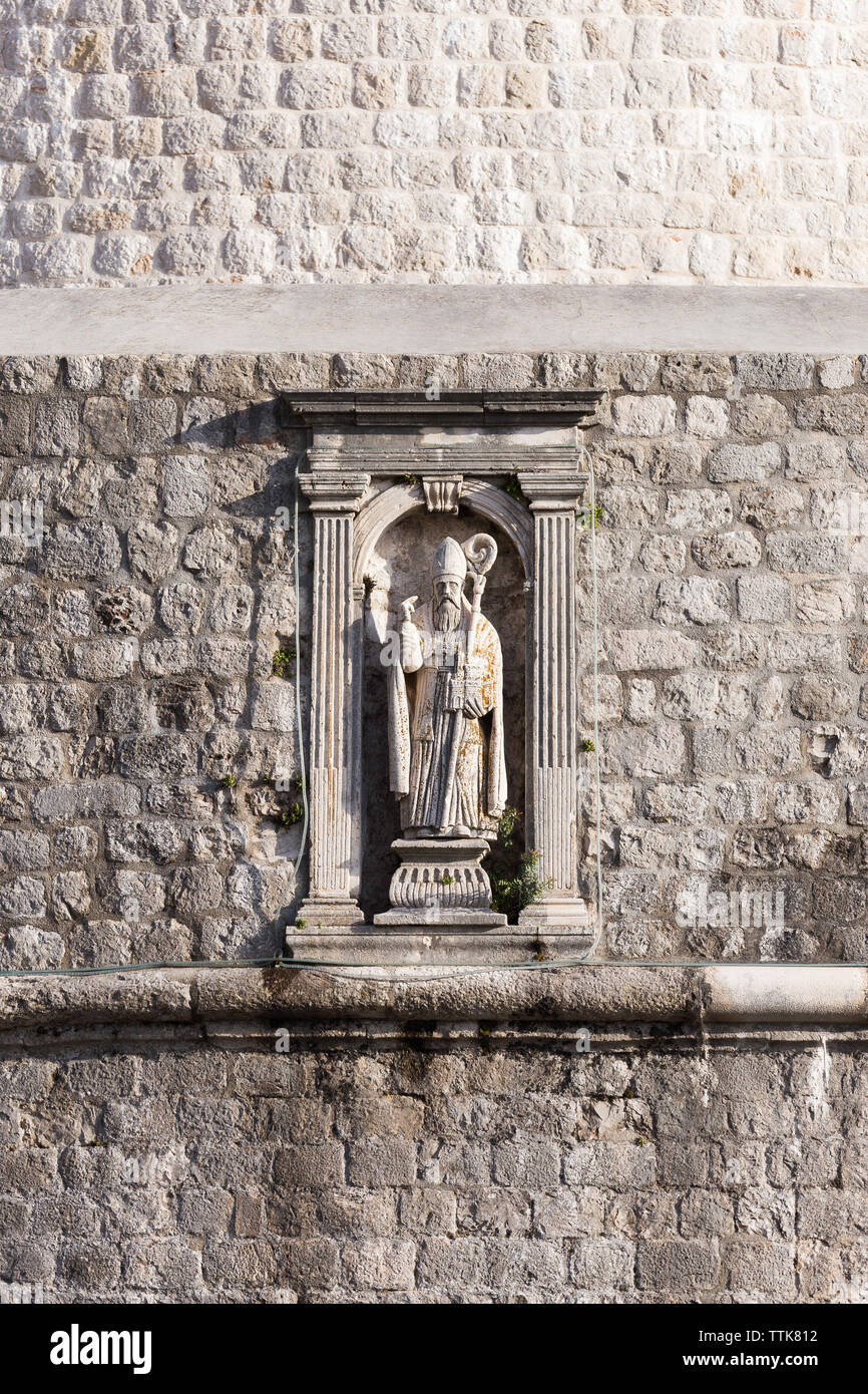 03 May 2019, Dubrovnik, Croatia. Old city architecture. Sculpture - Stock Image