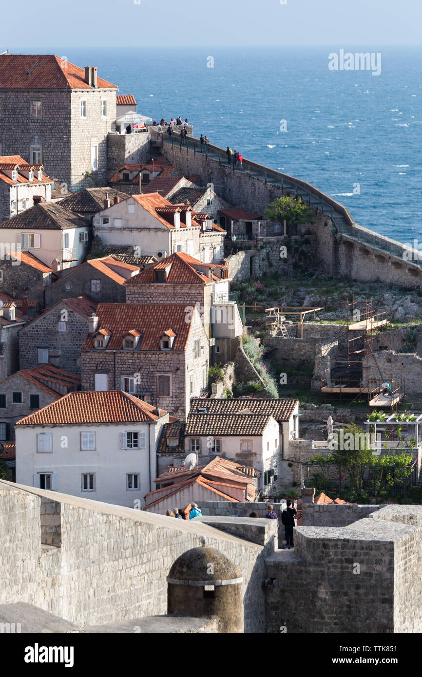 03 May 2019, Dubrovnik, Croatia. Old city architecture and wall - Stock Image