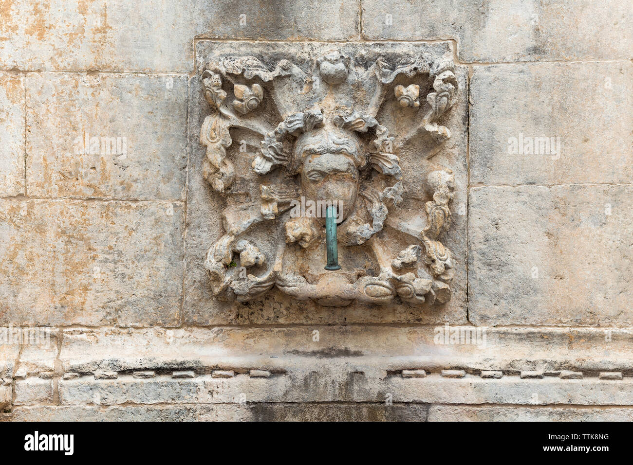 04  May 2019, Dubrovnik, Croatia. Old city architecture, Onofrio's Fountains. Detail - Stock Image