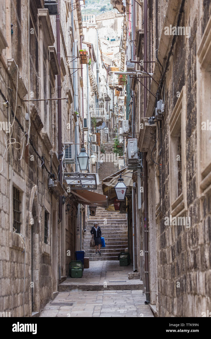 04  May 2019, Dubrovnik, Croatia. Old city architecture, narrow street and stairs - Stock Image