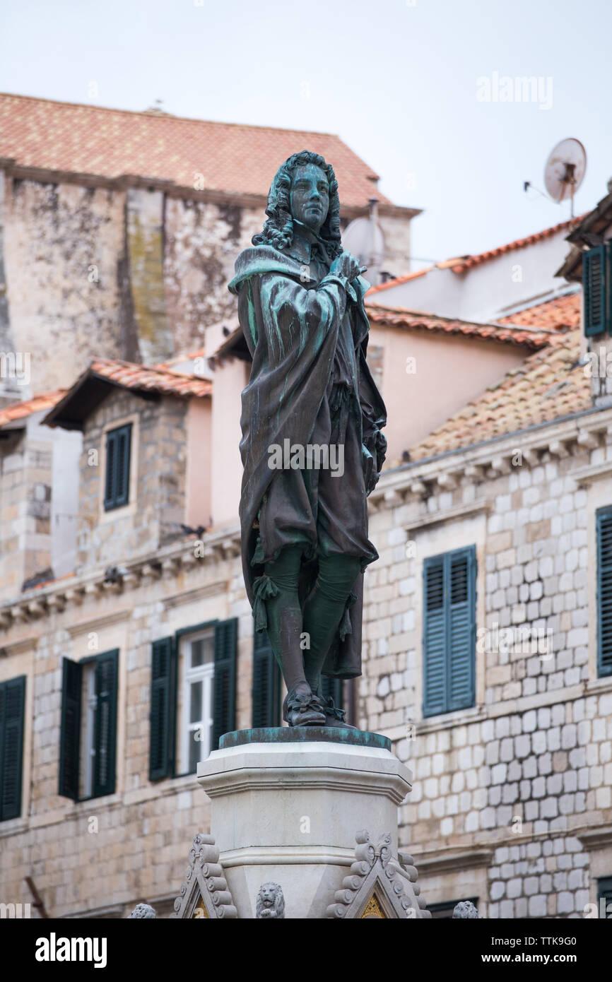04  May 2019, Dubrovnik, Croatia. Old city architecture, Ivan Gundulic statue - Stock Image