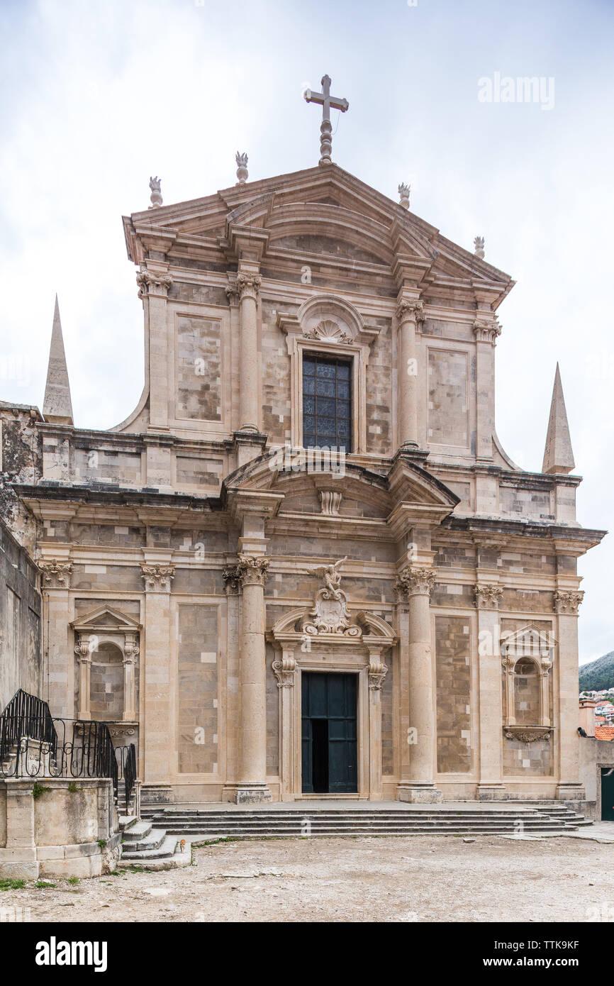 04  May 2019, Dubrovnik, Croatia. Old city architecture. St. Ignatius church. - Stock Image