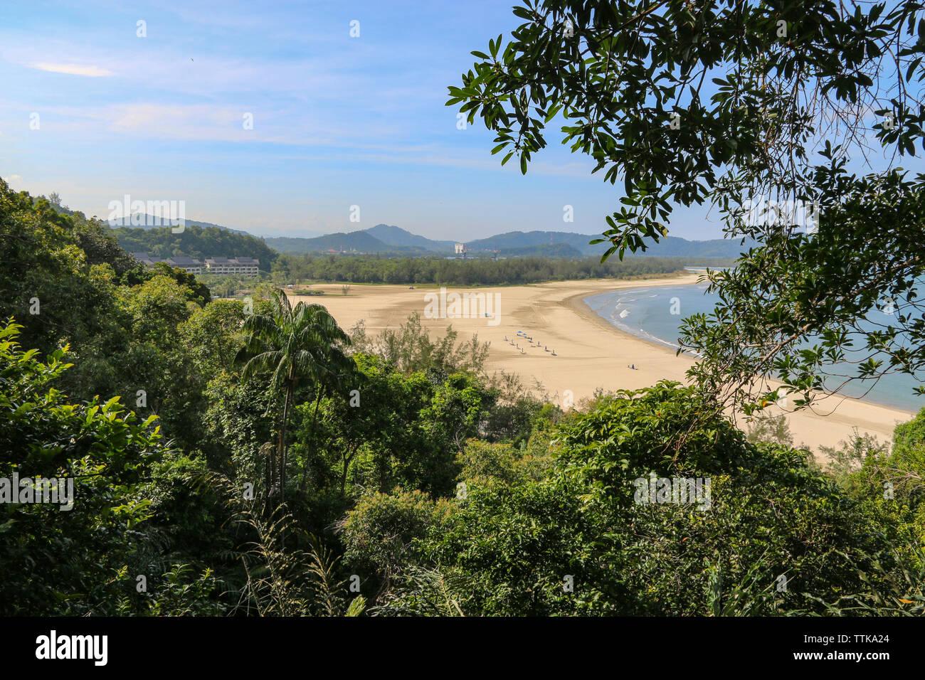 Beautiful deserted beach at Rasa Ria, Kota Kinabalu, Sabah, Malaysia - Stock Image