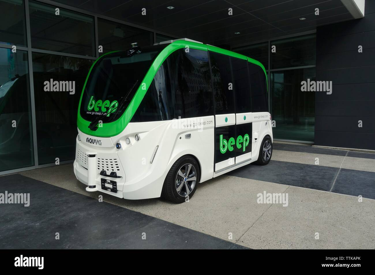 Orlando, FL/USA-6/16/19: Beep is a shared mobility shuttle that is driverless and autonomous developed by NAVYA, which serves cities and private sites. - Stock Image