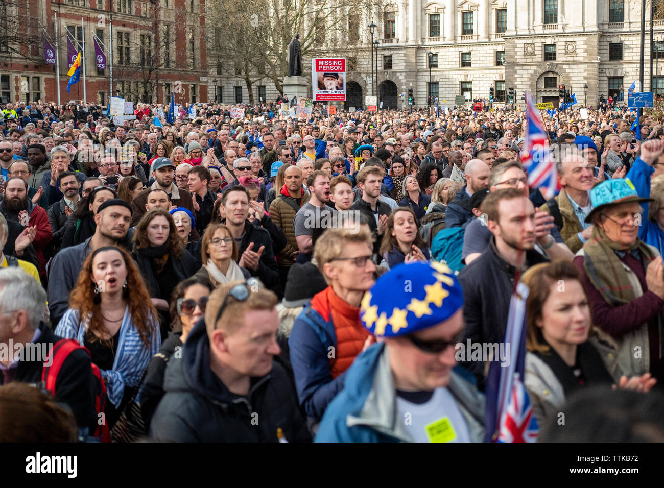 A single placard at a Brexit march asking where is Corbyn - Stock Image