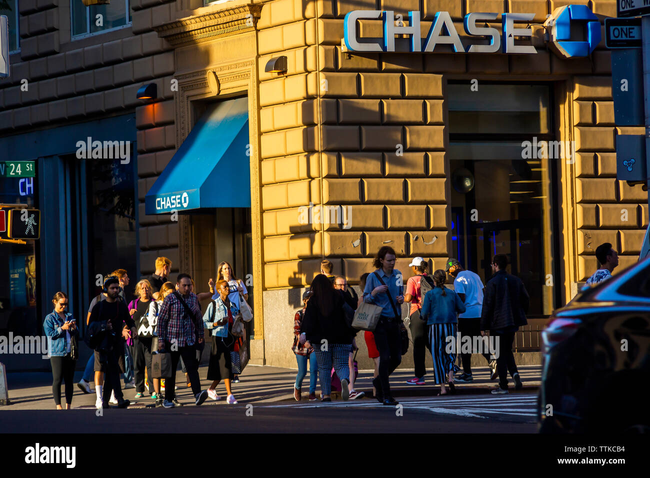 A branch of Chase bank in New York on Tuesday, June 11, 2019. (© Richard B. Levine) - Stock Image