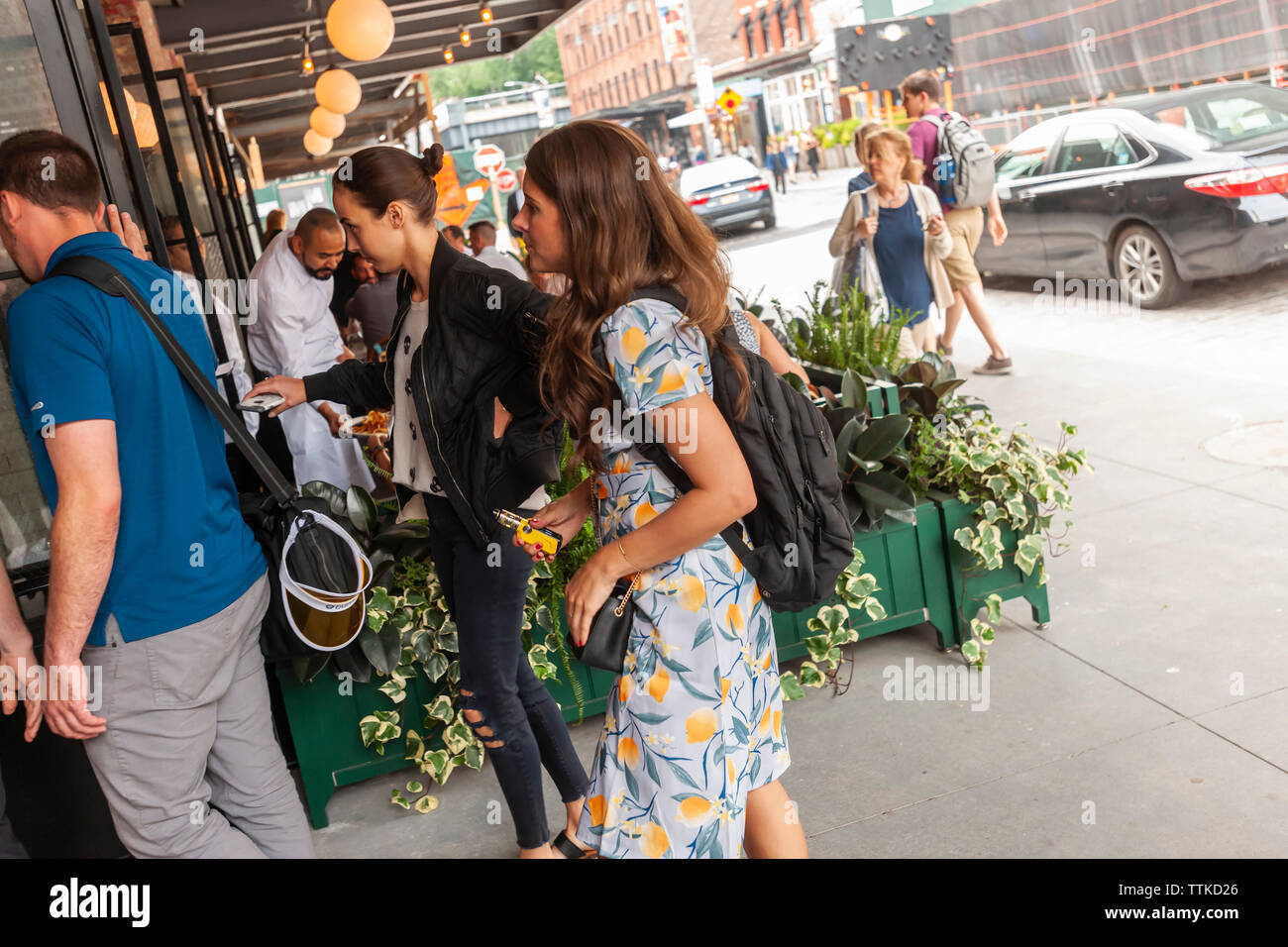 Diners arrive at the new Pastis restaurant in the Meatpacking District in New York on Friday, June 7, 2019 on its opening. Opened in 1999 and closed in 2014 the original has taken on a legendary status, attracting celebrity and regular patrons. (© Richard B. Levine) Stock Photo