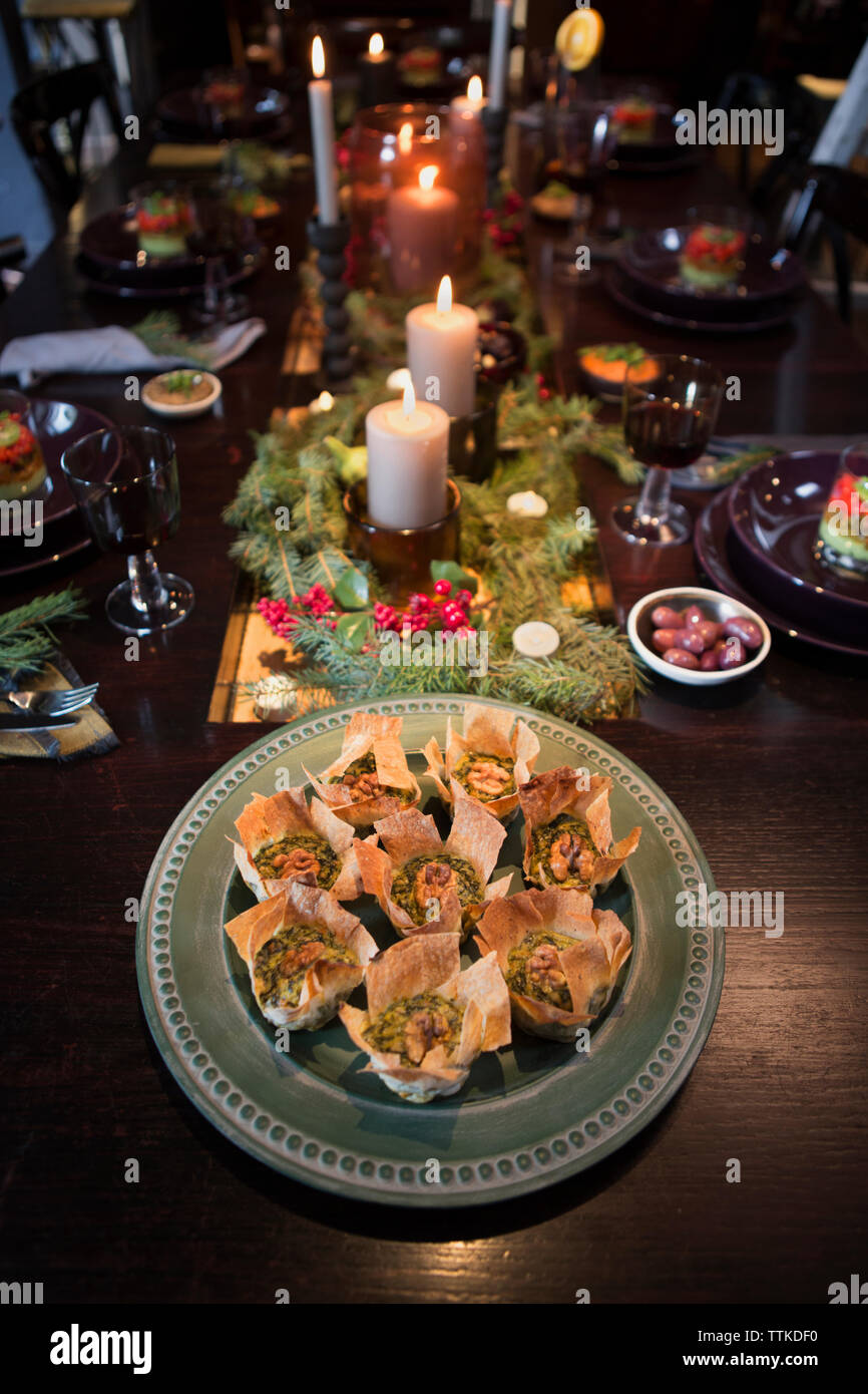 High Angle View Of Food Served On Decorated Table During