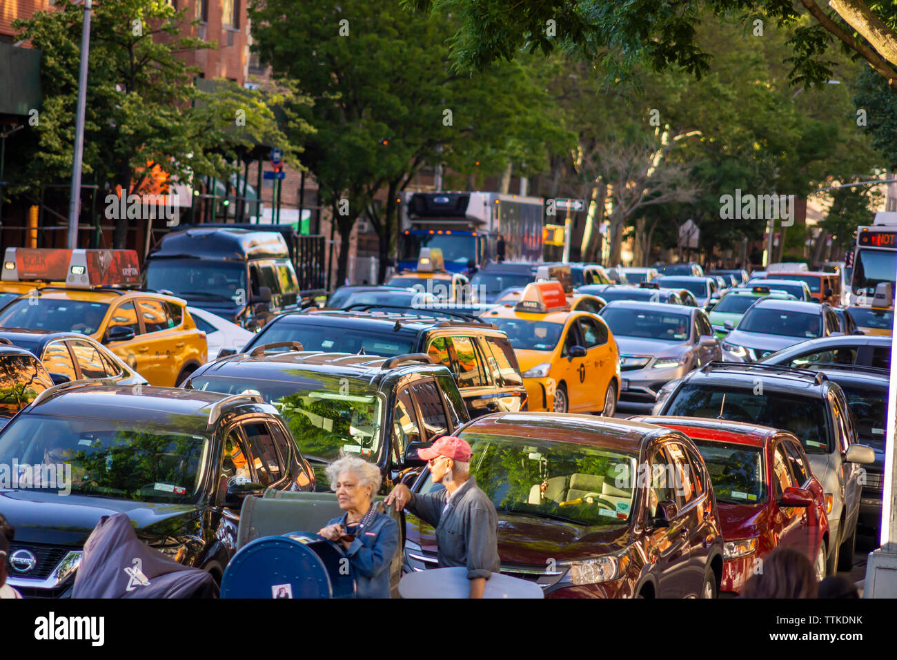 Traffic backed up on Fifth Avenue in the neighborhood of Harlem in New York on Tuesday, June 11, 2019. (© Richard B. Levine) Stock Photo