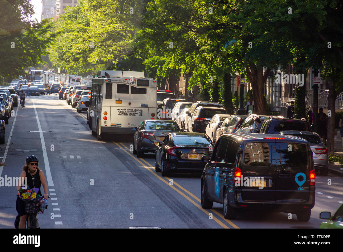 Traffic backed up on Central Park North in the neighborhood of Harlem in New York on Tuesday, June 11, 2019. (© Richard B. Levine) - Stock Image