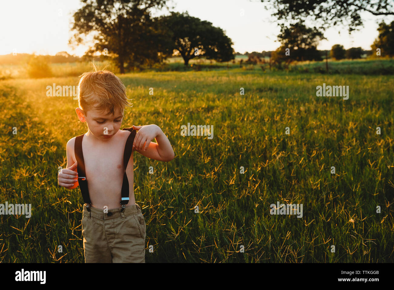 Shirtless boy wearing suspenders while standing amidst plants on field during sunset - Stock Image