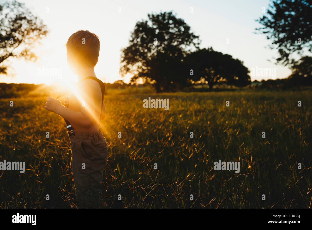 Side view of shirtless boy holding suspenders while standing on field during sunset - Stock Image