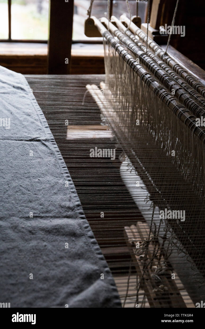 High angle view of loom in textile factory Stock Photo