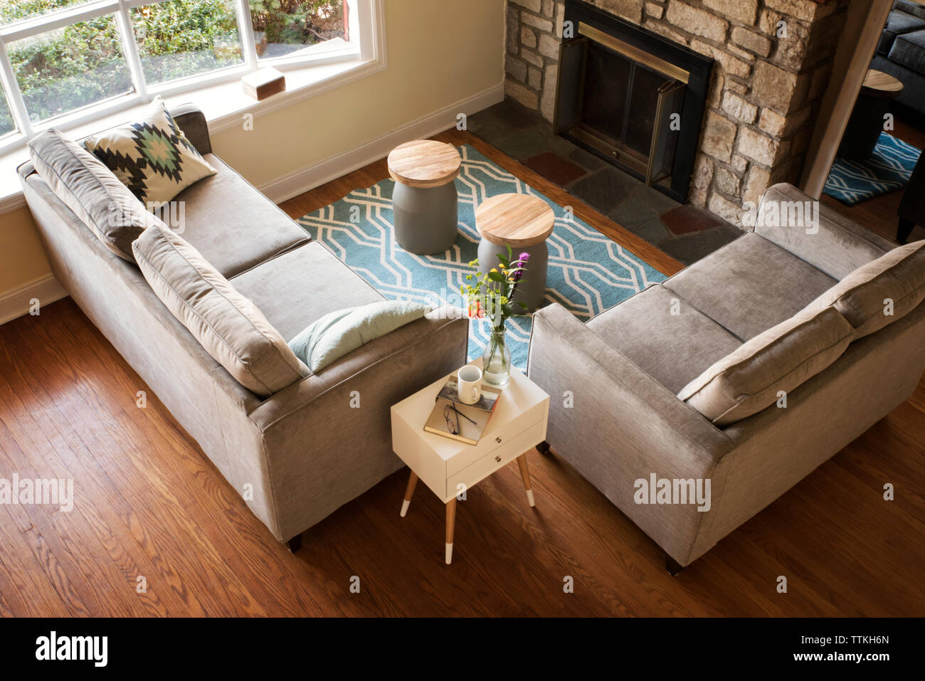 Overhead view of gray sofas in living room - Stock Image